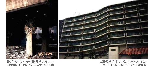 大地震により押しつぶされたマンション